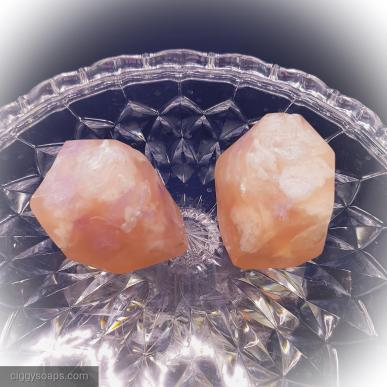 large rose quartz gems with some purple accents shown, also available in amethyst and other styles